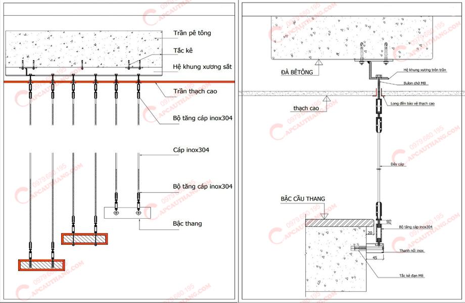 Bản vẽ cấu tạo cáp cầu thang
