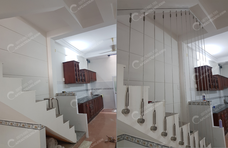 Trước và sau khi lắp đặt cáp cầu thang